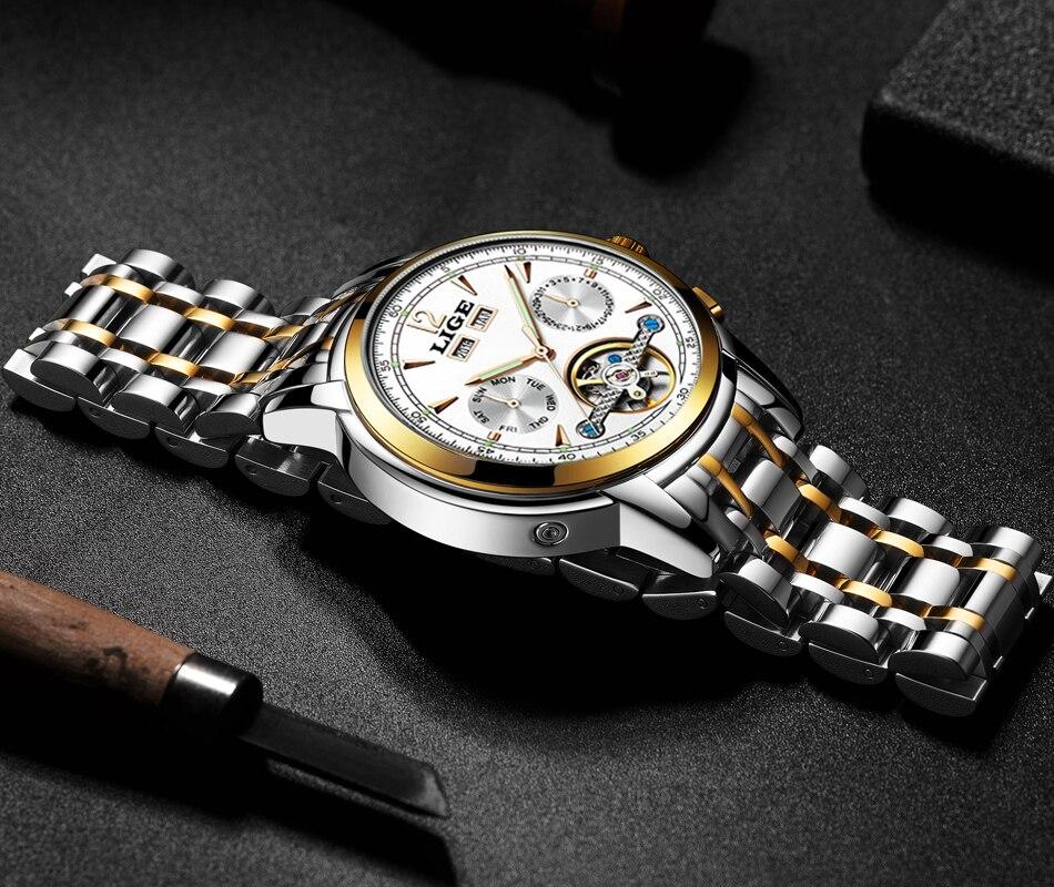 esporte casual tourbillon aço inoxidável relógios à