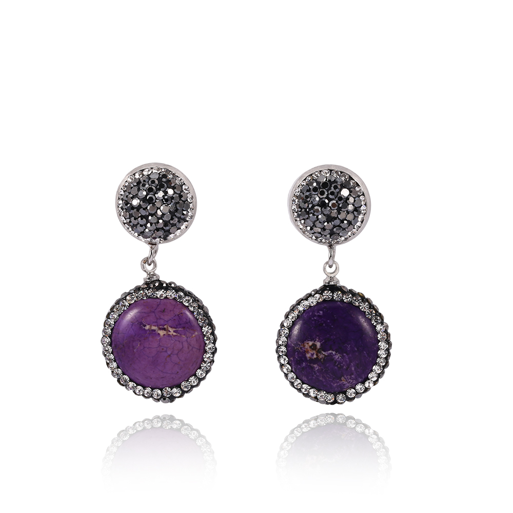 earrings product gallery in stone irregular lyst purple drop asos jewelry
