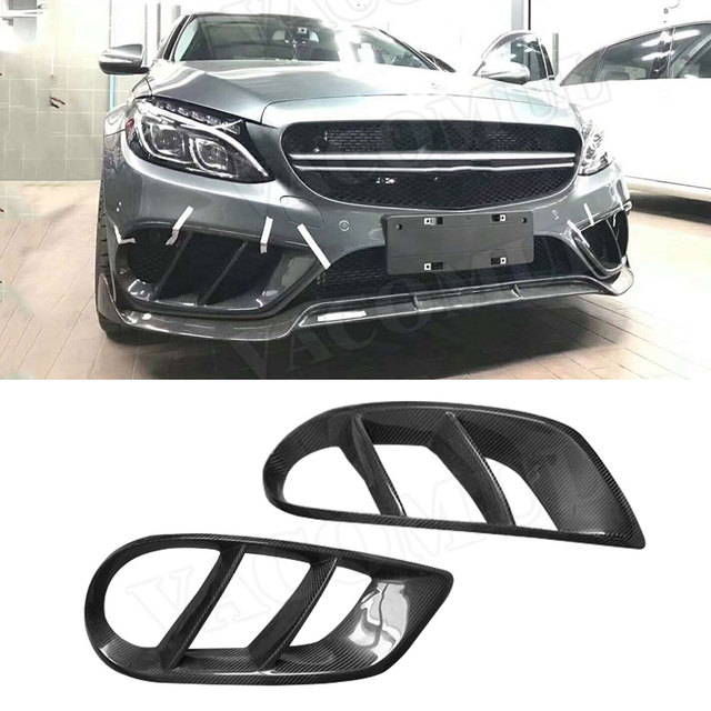C Class Carbon Fiber Front Bumper Air Vent Cover Trim for Benz W205 C43 AMG C180 C200 Sport 2015-2019 Foglamp Mesh Grill Frame