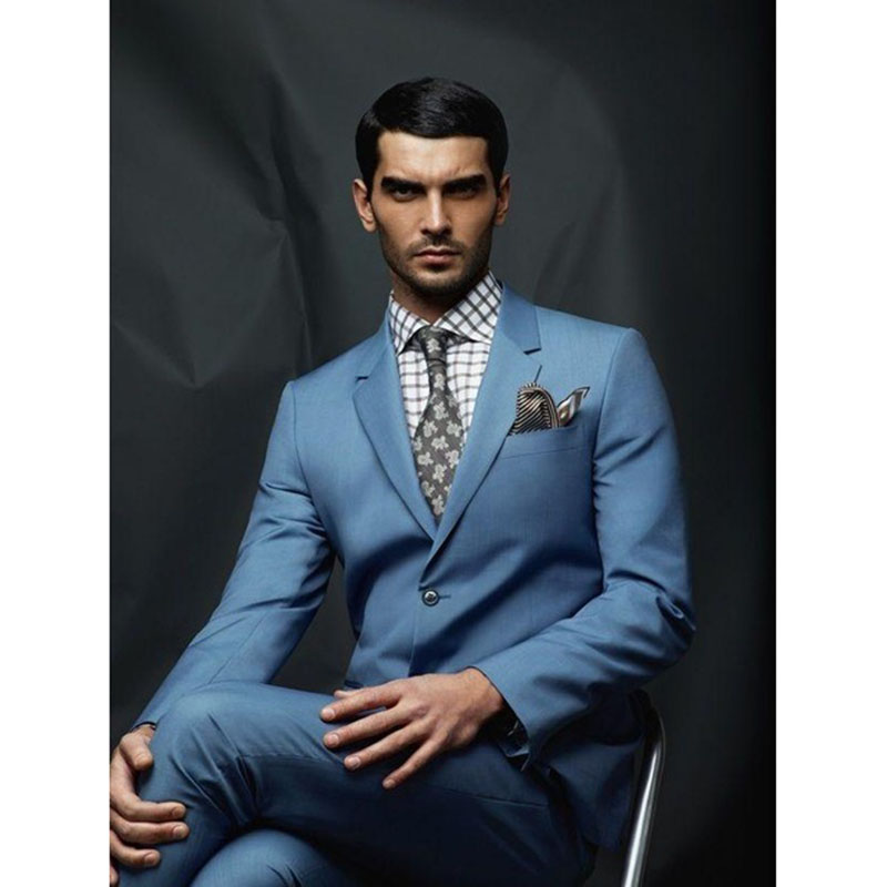 Tuxedo Blue Wedding Men Gentle-Mens Suit Ternos Masculino Masculino Costume Homme (Jackets+Pants)