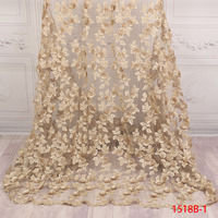 Gold thread African Tulle Lace fabric for party dress 2019 New African Handmade Flowers Trim Beads mesh lace fabric APW1518B 1