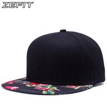 c273c9f5c46 Korean Flower Printing Street hip hop baseball hat fashion flat brimmed hat  outdoors casual brand snapback for women men