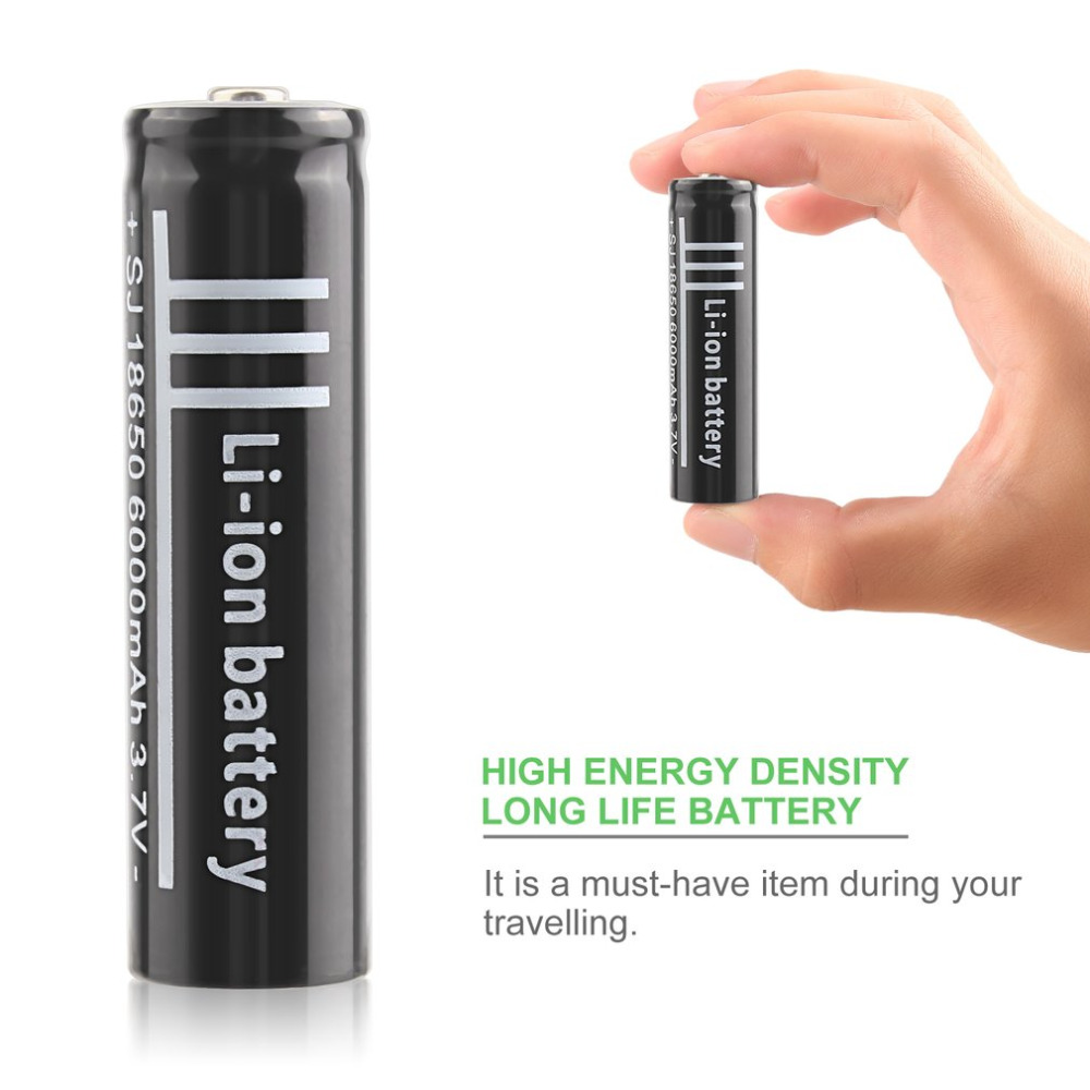 2pcs/lot <font><b>3.7V</b></font> <font><b>6000mAh</b></font> <font><b>18650</b></font> Polymer Lithium Battery Li-ion Rechargeable Battery for Flashlight Torch Industrial Equipment Using image
