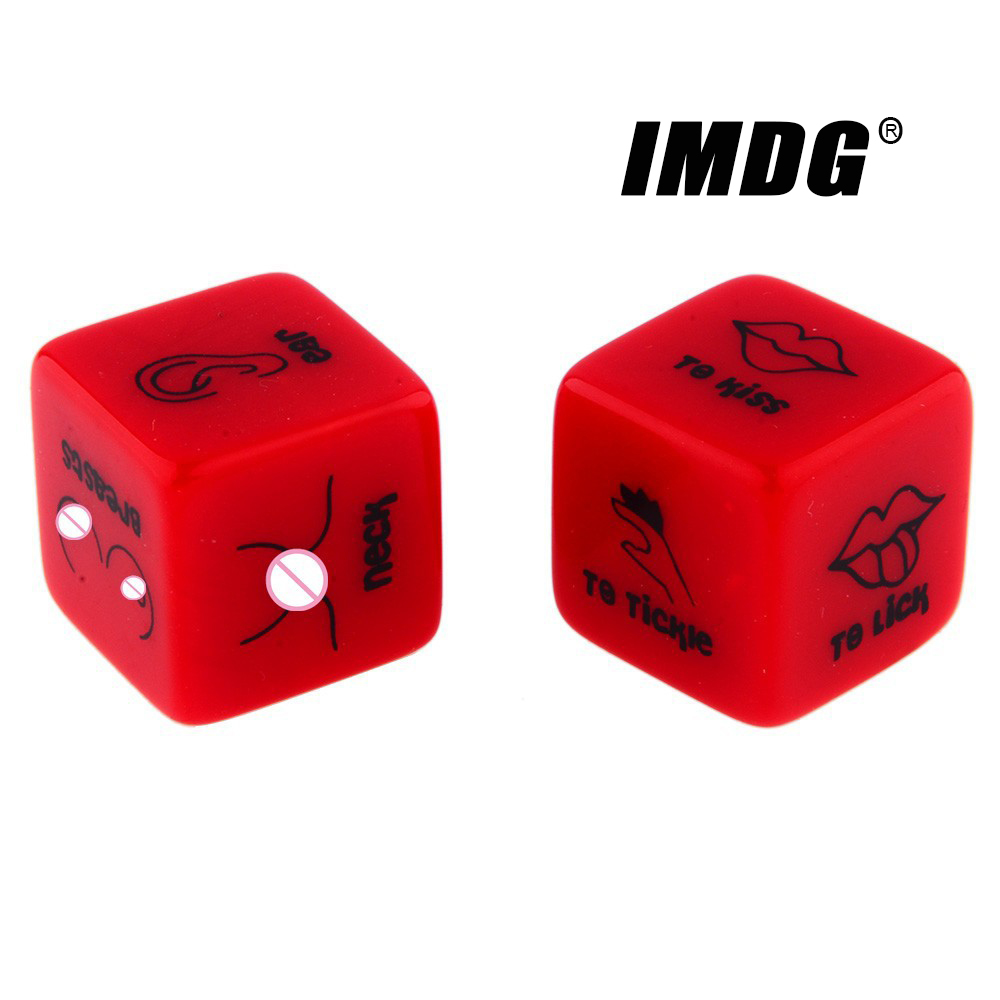 A Pair Acrylic Creative Sexy Dice 18mm Red English Action Dice #18 Round Corner High Quality Boutique Passion Dice