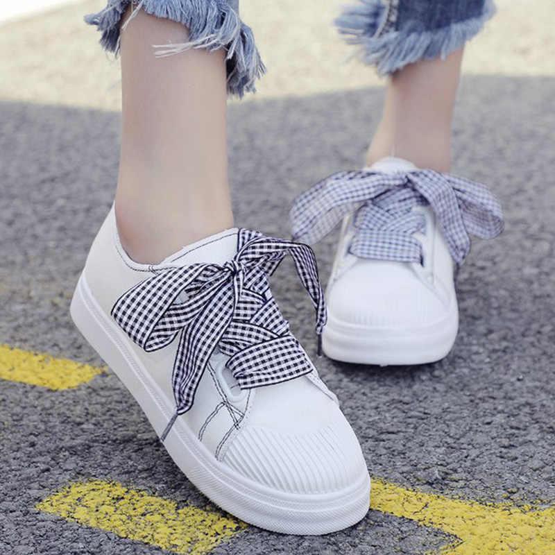 รองเท้าผ้าใบสีขาว 2019 ผีเสื้อ Knot เย็บผ้าใบรองเท้าสำหรับสาวฝ้ายผ้าผู้หญิงลำลองรองเท้า Chaussure Femme รองเท้า