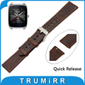 22 мм Натуральная Кожа Часы Ремешок Quick Release Ремешок для Asus ZenWatch 1 2 Мужчин WI500Q WI501Q Ремень Мужчины Женщины Браслет коричневый
