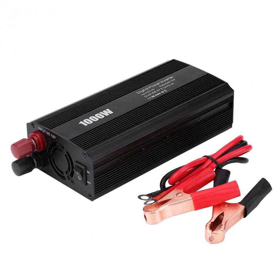 1000W DC 12V to AC 110V Portable Car Power Inverter Converter Dual USB 2.1A 5V Charger Adapter 2018