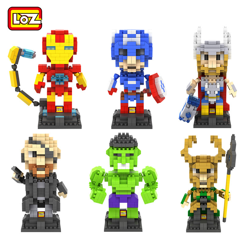 LOZ Marvel Super Hero 6 Styles Selectable 3D Diamond Building Blocks DIY Nano Bricks Toys Assemble Children Educational Toys loz diamond blocks figuras classic anime figures toys captain football player blocks i block fun toys ideas nano bricks 9548