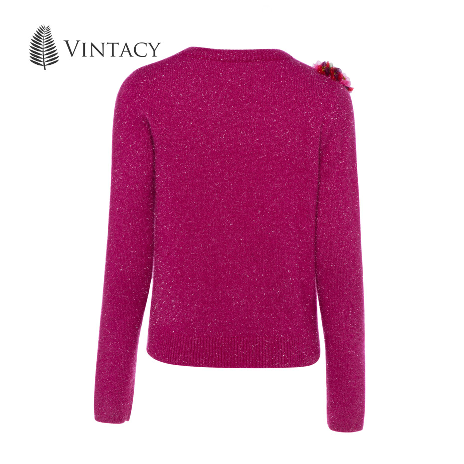 Vintacy Shiny Pink Christmas Sweater Women Sweet Flower Appliques ...