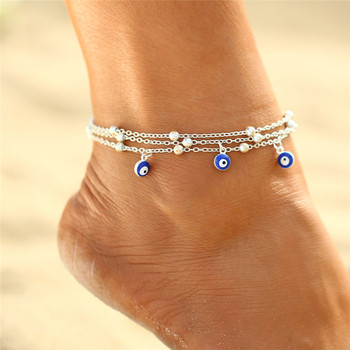 Bohemian Colorful Turkish Eyes Anklets for Women Gold Color Beads Summer Ocean Beach Bracelet 2