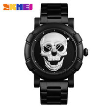 SKMEI Classic Skull Pattern Men Quartz Watch Stainless Steel Sport Watches 30M Waterproof Male Wristwatch Relogio Masculino 9178(China)