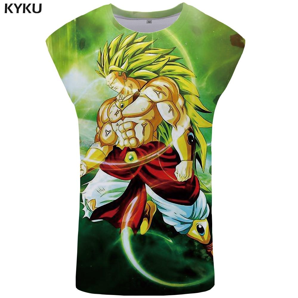 KYKU Dragon Ball Z   Tank     Top   Men Goku Undershirt Ftness Mens Clothing Stringer Green Bodybuilding Vest New Casual Sleeveless Shir