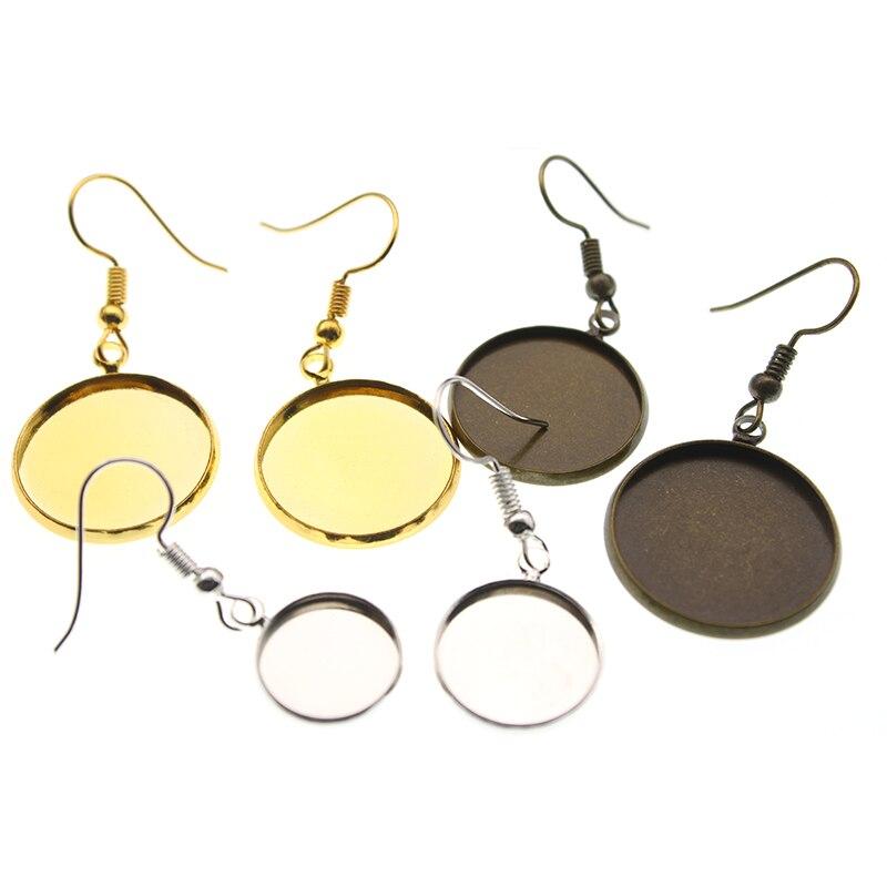 20pcs 14mm Zinc Alloy Earrings Findings Crafts Round Bezel Earrings Blank Base