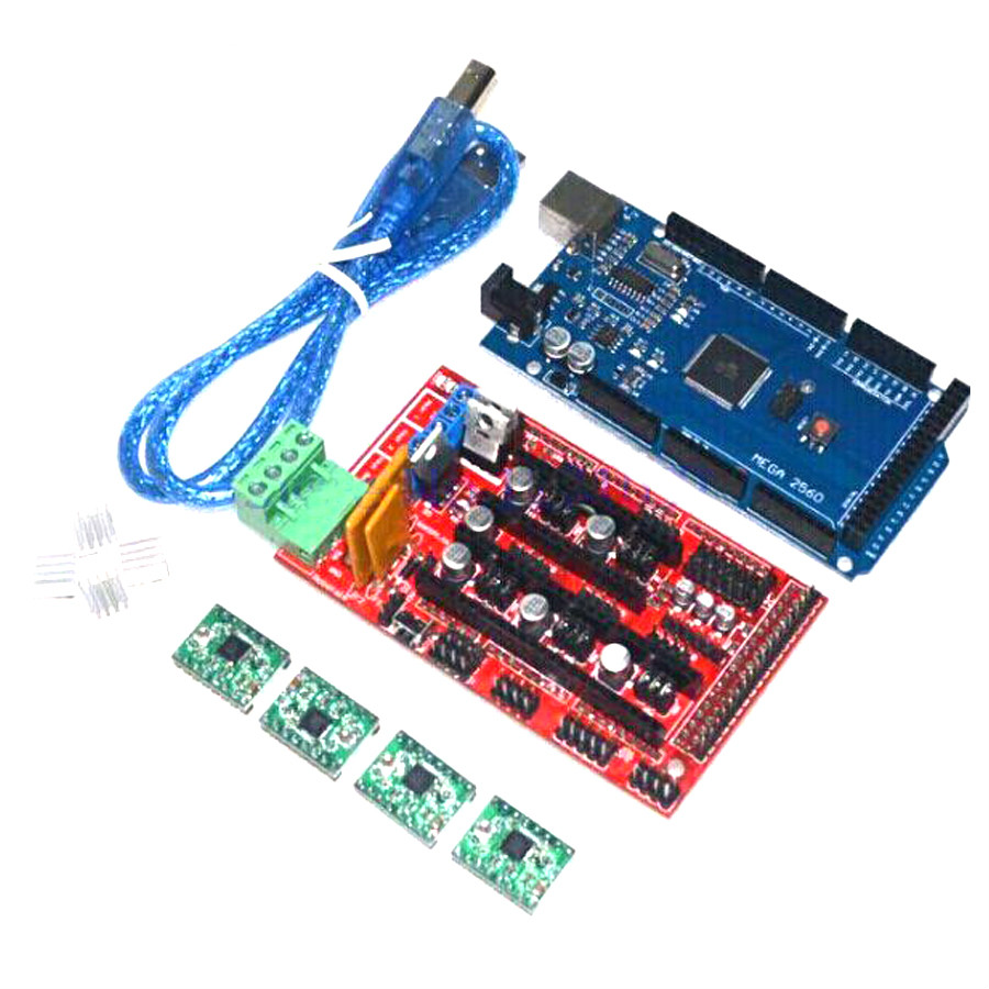 все цены на  Free shipping Mega 2560 R3+1pcs RAMPS 1.4 Controller+4pcs A4988 Stepper Driver Module for 3D Printer kit Reprap MendelPrusa  онлайн