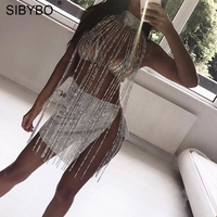 dba77c4fe Sibybo Rhinestone Tassel Cloak Sexy Tops For Women High Necked Crystal  Diamond Long Women Tops Nightclub