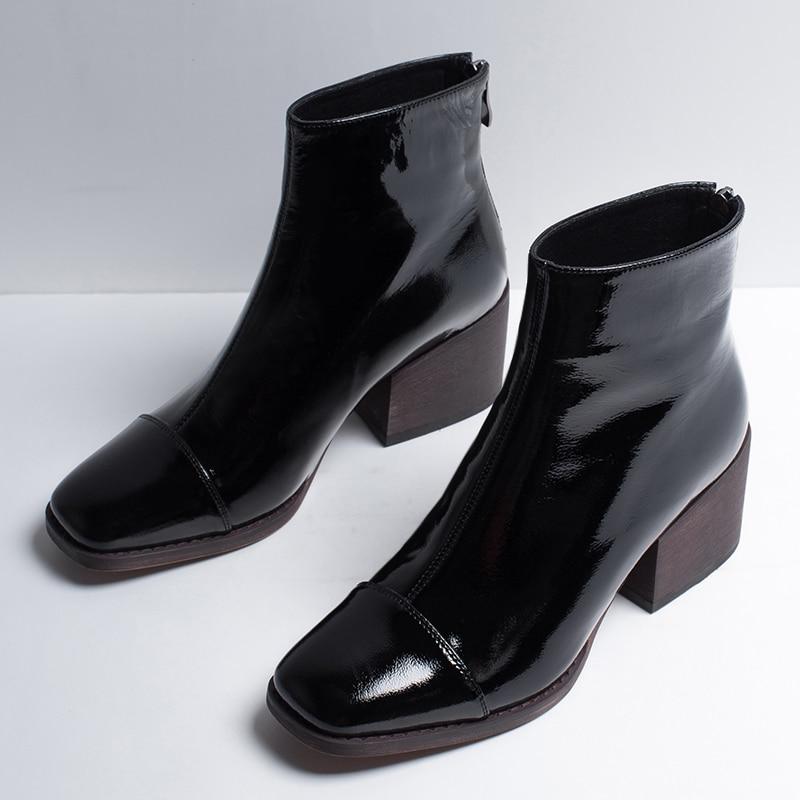 7ad375b74 De Cuadrada Niña Cuadrado Alto Mujer Zapatos Gran Para Genuino 2018 Botas  Venta Bota Cuero Punta Tacón Negro Tobillo Xinbest HdTvWWxn