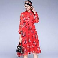고품질 2018 새로운 디자이너 패션 여름 드레스 여성의 긴 소매 열대 물고기 인쇄 Bowknot 쉬폰 레드 드레