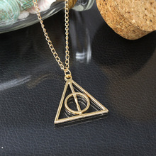 Unisex Accessories choker Harry Potter Luna and the Deathly Hallows necklaces & pendants retro triangle round sweater chain(China (Mainland))