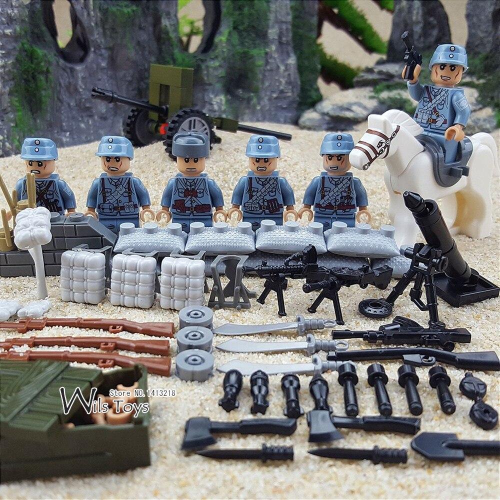 6 pcs Armée Chinoise MILITAIRE WW2 Soldat SWAT Arme Forces Spéciales Cheval Blocs de Construction Briques Figurines Jouets Garçons Cadeaux Enfants