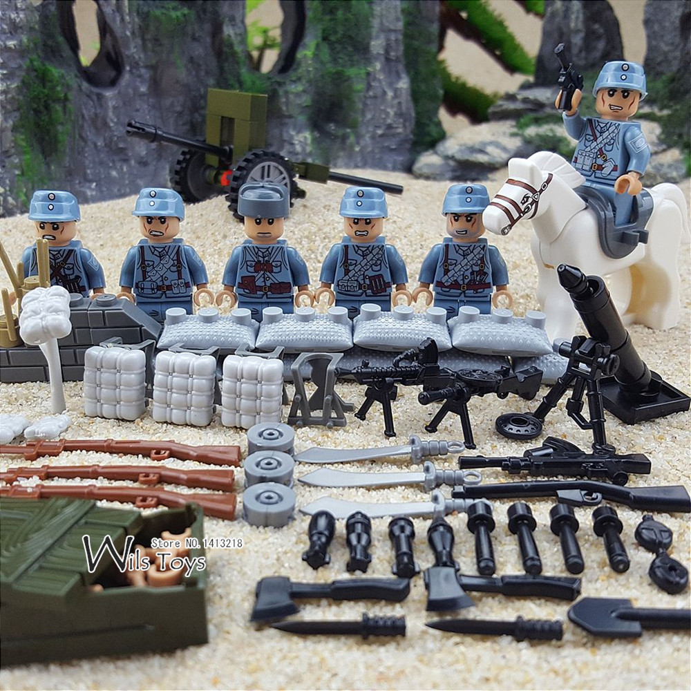 6pcs Chinese Army MILITARY WW2 Soldier SWAT Weapon Special Forces Horse Building Blocks Bricks Figures Toys Boys Gifts Children gudi 4 in 1 military soldier model building blocks toys for children army firewire swat action figure diy bricks gift 237pcs set