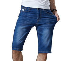 Mens Summer Stretch Lightweight Blue Denim Jeans Short For Men Jean Shorts Pants Plus Size 32
