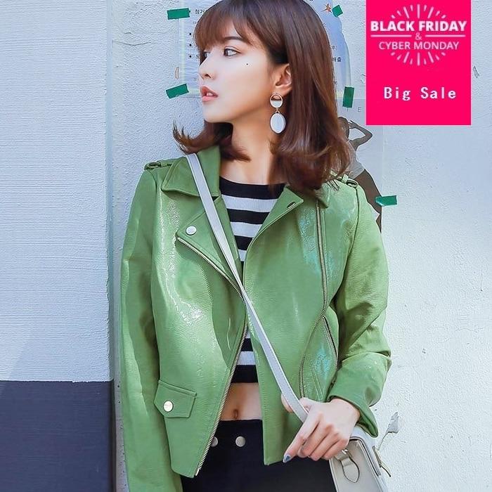 New Fashion brand Good Quality Ladies Basic Street green   leather   jacket Women Short zipper stitching PU   Leather   Jacket wq238