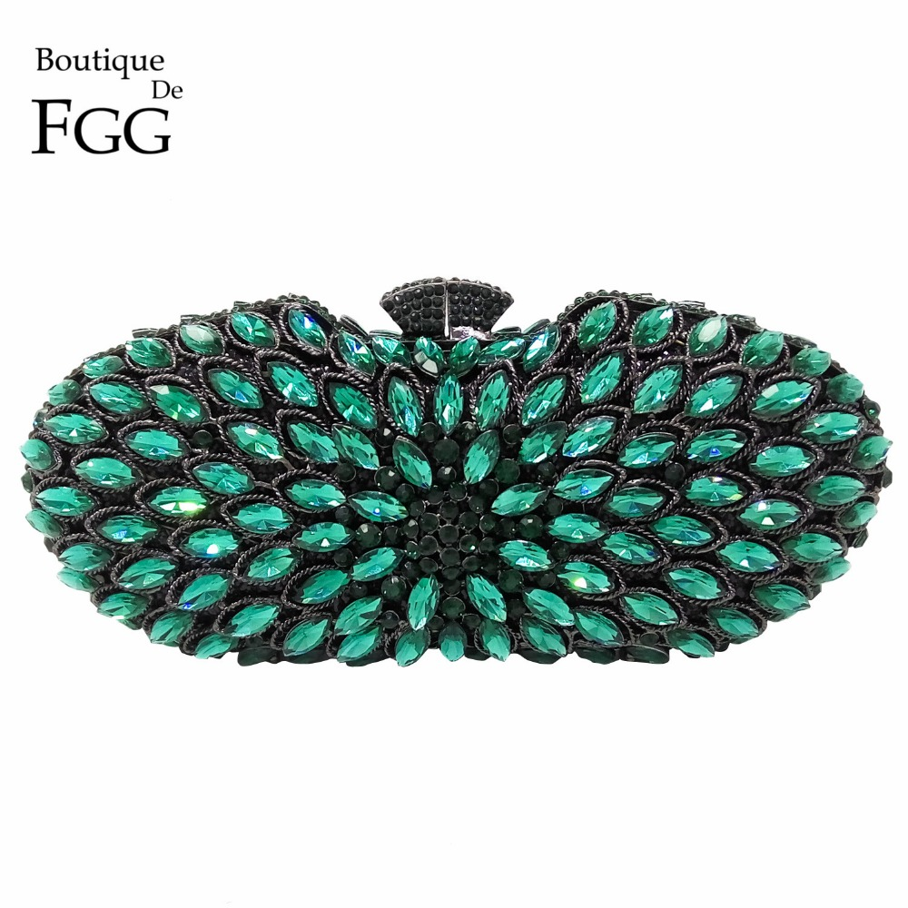 Turquoise Green Gunmetal Plated Women Crystal Clutches Evening Bag Hollow  Bridal Wedding Party Metal Clutches Shoulder Handbag диски helo he844 chrome plated r20