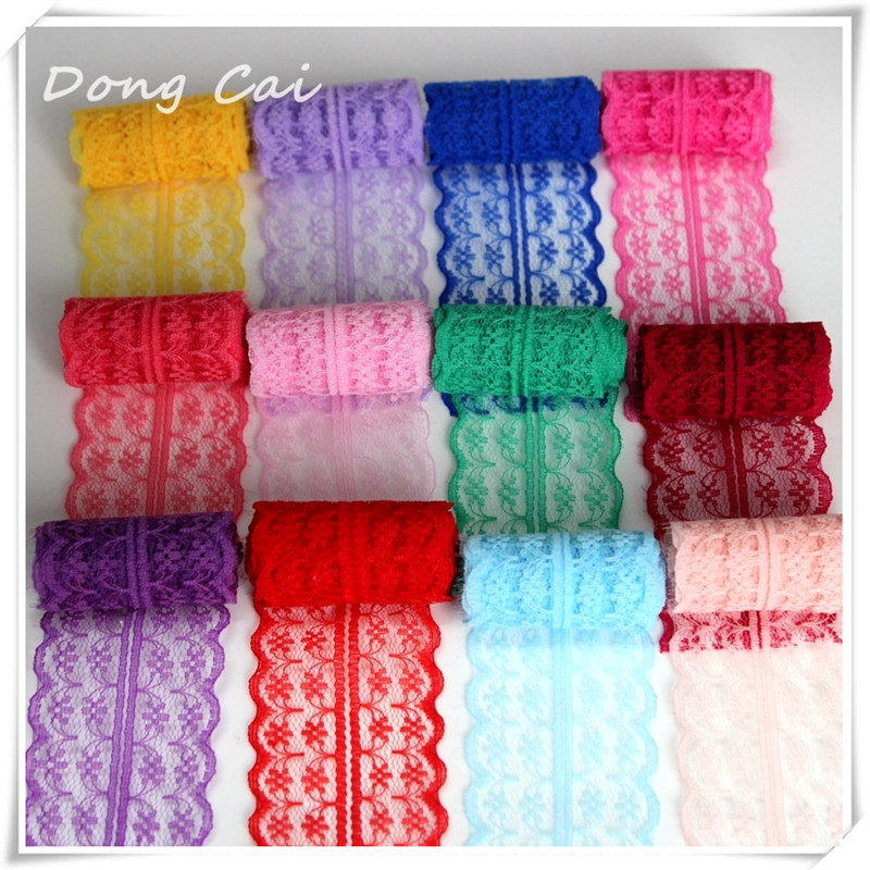 DongCai Lace Trim Ribbon 10 Yards/lot 45mm Apparel Sewing Knit Fabric DIY Embroidered Net Fabric Cord Lace Patchwork Accessories