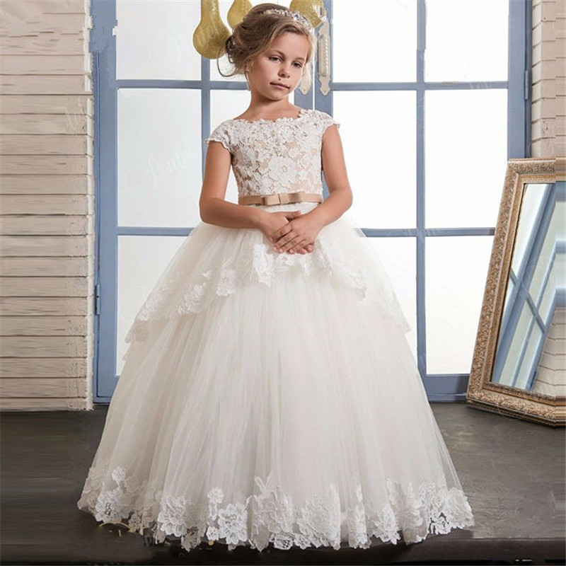 Cap Sleeves 2019   Flower     Girl     Dresses   For Weddings Ball Gown Tulle Lace Tiered Sash Long First Communion   Dresses   For Little   Girls