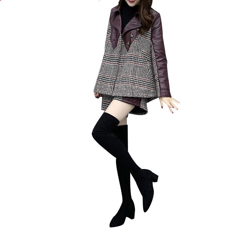 Tweed Jacket + Shorts Suit Spring Autumn Women's A-Line Jacket Coat Ladies Wool Splice PU Leather Two Piece Set