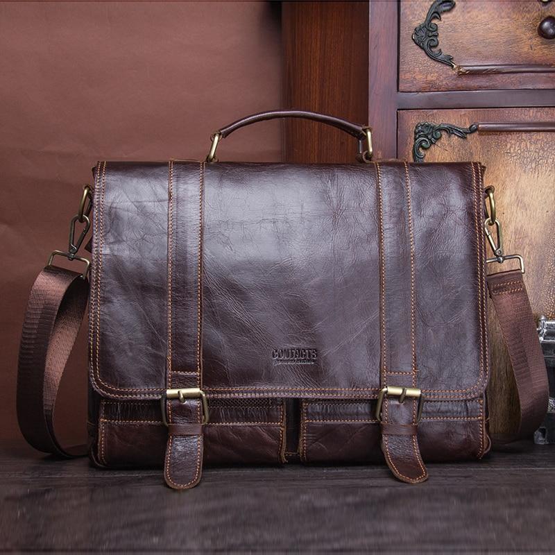 CONTACT'S men's briefcase genuine leather business handbag laptop casual large shoulder bag vintage messenger bags luxury bolsas 5