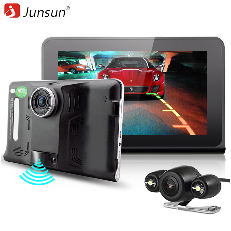 Junsun 7 inch Car GPS Navigation Android 4.4 DVR Radar Detector with GPS Navigator 16GB Russia Navitel map vehicle sat nav beling g710a car gps navigation with av in 7 in touch screen wince 6 0 8gb vehicle navigator fm sat map mp4 sat nav automobiles