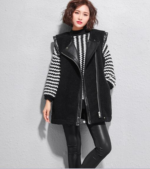 2018 jacket large size lapel zip vest jacket sleeveless cardigan women grid pattern rib insert zip up jacket