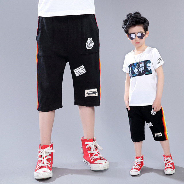 bde476f9c8 US $12.0 |New Summer Boys Black&Brown Shorts Cotton Elastic Waist Boys  Badge Patch Design Sport&Beach Short Pants Mid Casual Kids Trousers-in  Shorts ...