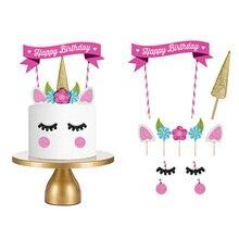 1 ชุด Handmade ทองสีชมพู Unicorn Party Cupcake เบเกอรี่ตกแต่ง Happy Birthday Party ธงเด็กทารกปาร์ตี้ Decor เค้ก Decor