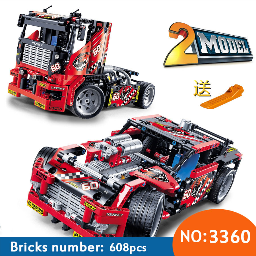DECOOL 2017 New 608pcs Race Truck Car 2 In 1 Transformable Model Building Block Sets 3360 DIY Toys Free Shipping a toy a dream 2017 new free shipping decool 3331 large 805pcs exploiture crane model enlighten plastic building blocks sets