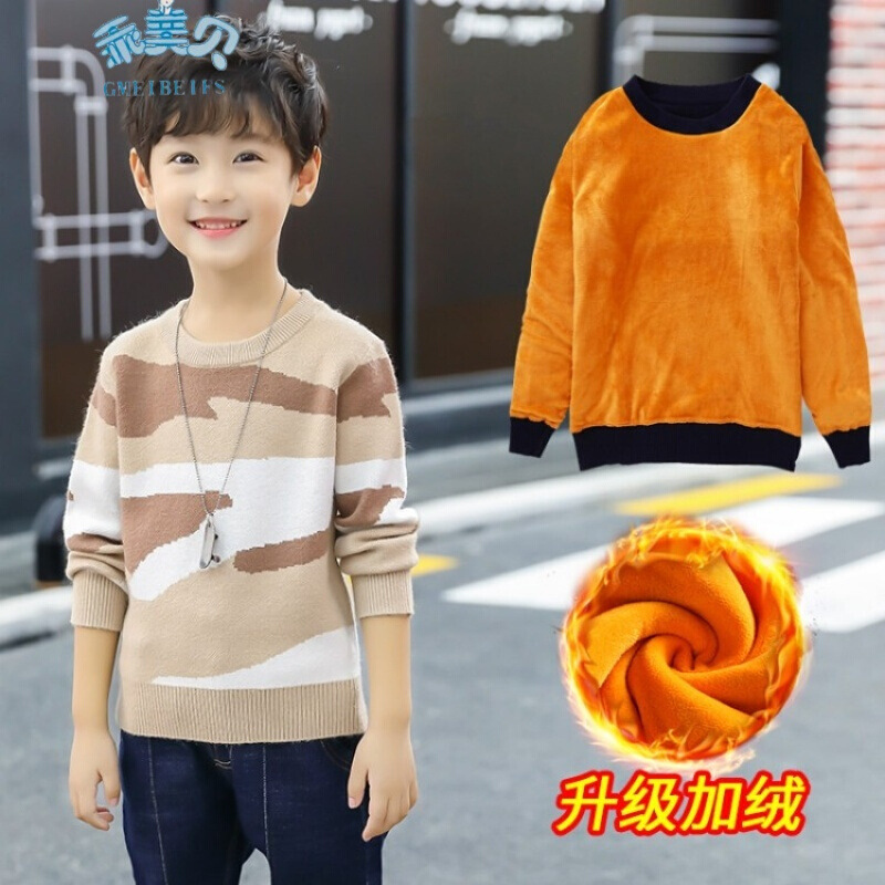 Boy Sweater 2018 New Fashion Baby Boy Clothing Autumn Winter Long Sleeve Velvet Warm O-neck Knit Kids Sweaters 10 12 Kerst Trui choker neck trumpet sleeve velvet top