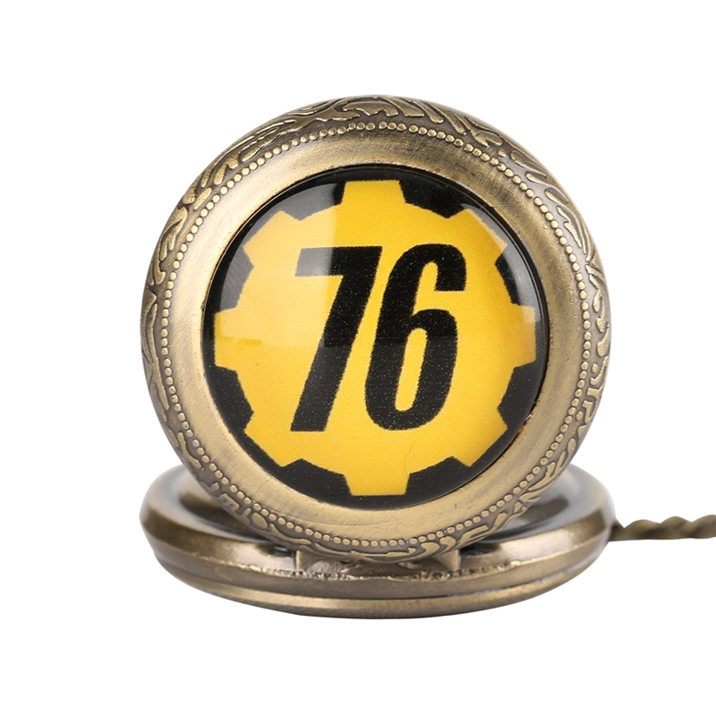 Fallout 76 Vault 111 FALLOUT 4 Theme Quartz Pocket Watch Pendant Retro Bronze Chain Necklace Unique Souvenir Gifts for Game Fans (8)