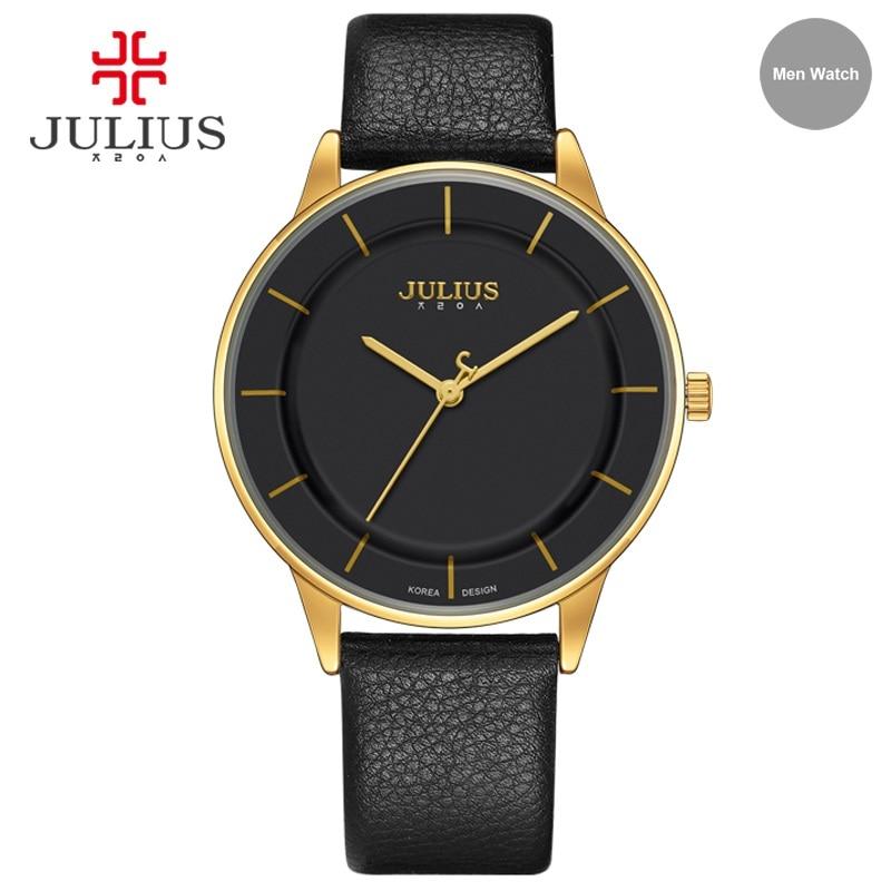 JULIUS Watches Men Simple Leather Watch Stylish Thin Wrist Watch Brand Luxury Designer 2017 New Business Quartz Clock UHR JA-957