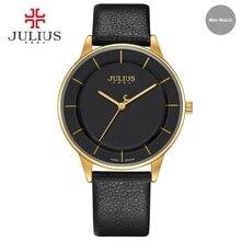 Julius relojes hombres reloj de cuero simple con estilo delgado reloj de pulsera marca de lujo de diseño 2017 nuevo negocio de cuarzo reloj uhr ja-957