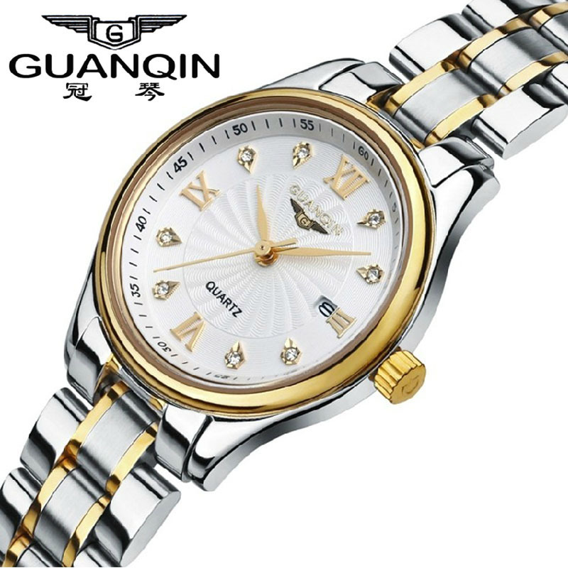 ФОТО Relojes Mujer 2016 GUANQIN Watch Women Fashion Quartz Watch Waterproof Luxury Stainless Steel Watch relogio feminino Clock 80007