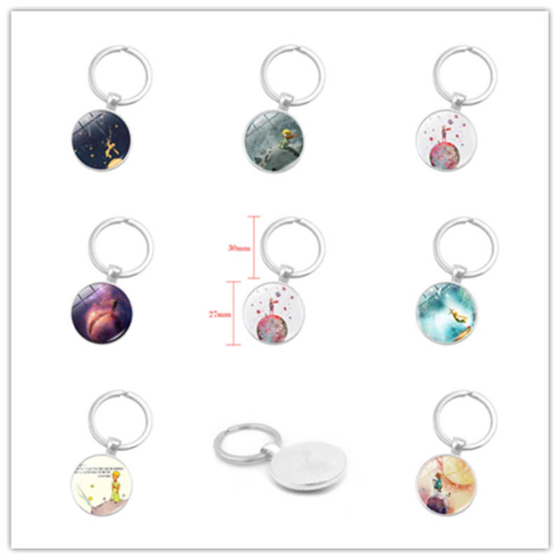 Drop Shiping Little Prince keychain metal glass fairy tale Baby Jewelry Key Rings Fun Children Pendant Keychain DropShipping New