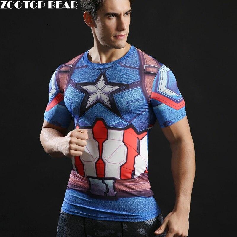 Camiseta estampada 3D Capitán América guerra Civil camisetas hombres Marvel Avengers manga corta ropa de Fitness hombre ZOOTOP oso