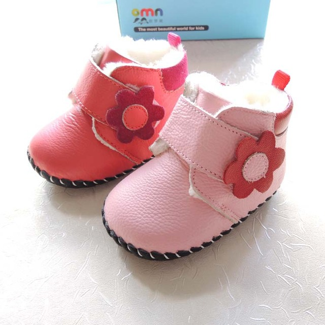 2017 Winter OMN 2-color genuine leather soft TPR sole indoor baby shoes girls winter boots snow boots wholesale