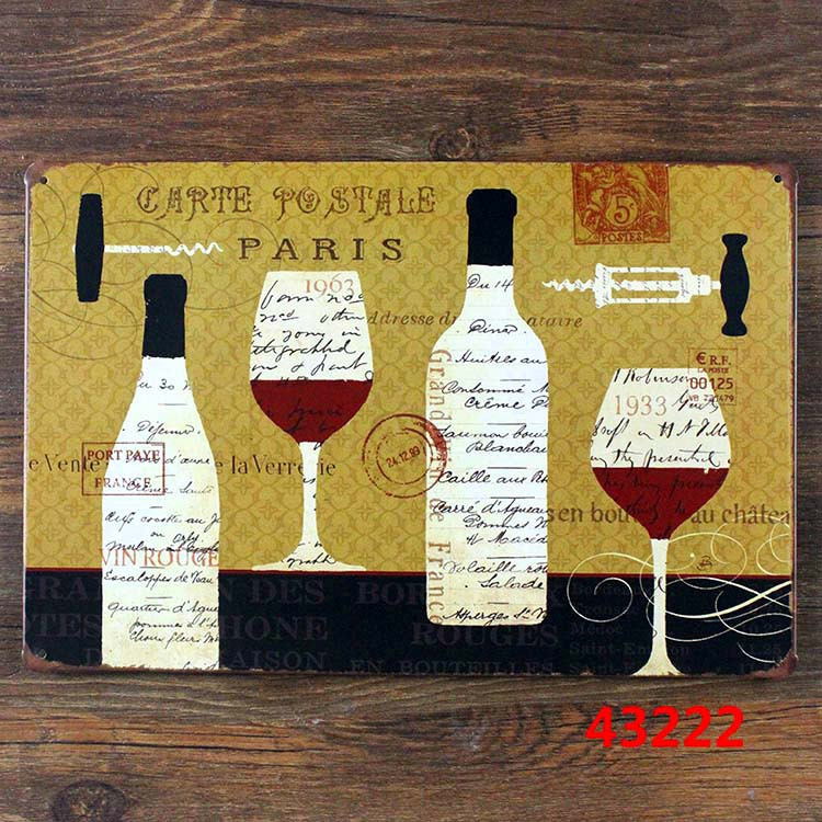 CARTE POSTALE PARIS Metal Poster Wall Decor Bar Home Vintage Craft ...