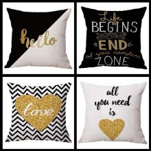 Loving Heart Bronzing Cushion Cover Cotton Linen Gold Love Printed Valentine's Day Present Home Decorative Sofa Seat Pillow Case