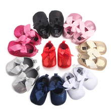 Toddler Baby Girl Soft Cotton Princess Butterfly-knot Sole Shiny Girls Dresses Shoes For New Born Non-slip 0-12M