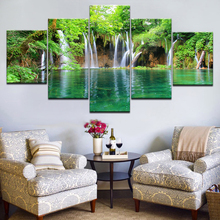 5 Panel Waterfall Painting Canvas Wall Art Picture Home Decoration Living Room Print Unframed Artwork