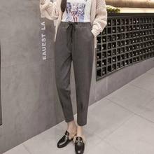 Фотография 2017 Winter New Fashion Women Plus Size Warm Thick Ankle-length Harem Pants Female Wool Elastic Waist Trousers S-5XL FD15#8570