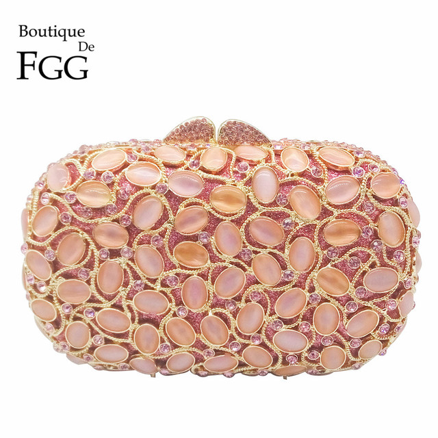 Pink Crystal Evening Clutch Bags For Women Party Handbags Hard Case Opal Stones Hollow Out Metal Clutches Bag Bridal Wedding Bag